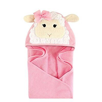 HUDSON BABY Animal Face Hooded Baby Toddler Towel PINK LAMB - Great Gift