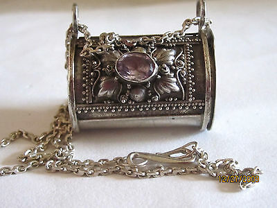Vintage 925 Sterling Silver Amethyst Pill Box Necklace 9.8 Gr Hand Made