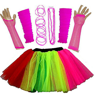 New Girls Neon Tutu Skirt Hen Party 80'S Fancy Dress Accessories Bangles Multi