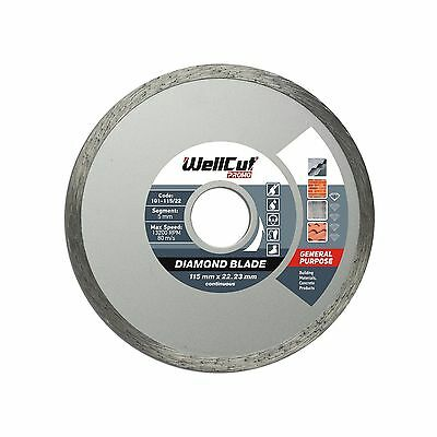 WELLCUT Diamond Cutting Disc 115 x 22.2 mm Tile Continious for Angle Grinder,...