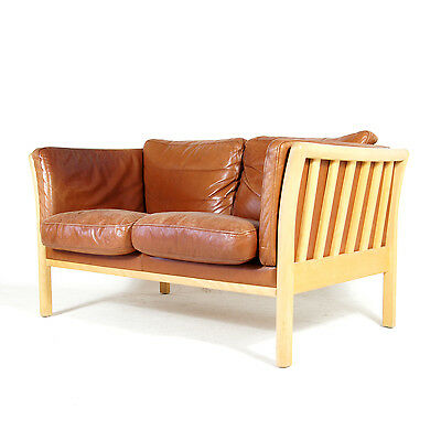 Retro Vintage Danish Beech 2 Seat Seater Leather Feather Sofa 70s Scandinavian