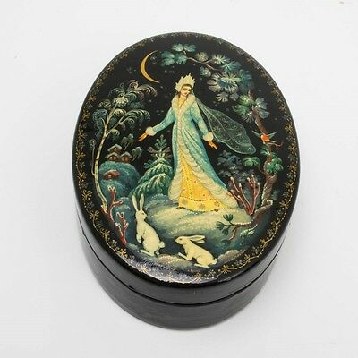 """Vintage Russian Hand Painted Black Lacquer Box Snow Maiden 5.5"""" Oval Moscow"""