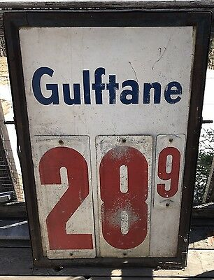 "Vintage Original Gulf Gulftane Gas Station Price Sign 48.5"" X 28.5"""