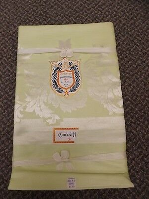Rare Color! Vtg New Pale Lime Green Damask Tablecloth 52x52 Combed Cotton NOS