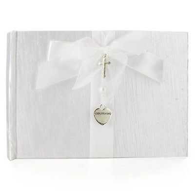 White Christening Guest Book - Silver Cross and Heart Charm