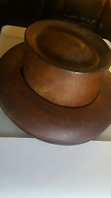 Antique Wood Millinery Hat Flat Oval Crown & Brim Block Mold Form Fedora