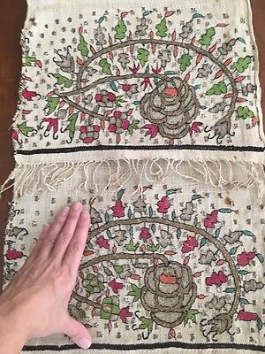 Antique Ottoman-Turkish Silk & Metallic Hand Embroidery On Linen Panel