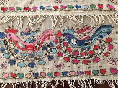 Antique Ottoman-Turkish Silk & Gold Metallic Hand Embroidery On Linen N6