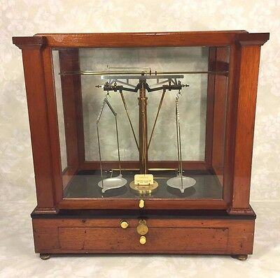 Antique Christian Becker Apothecary Scale Great Wood Case & Glass w/ Saddles