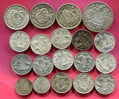 Australia - Lot of AU/BU Silver coins from WWII