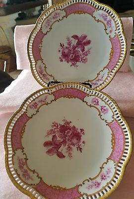 Set 2 Antique Bavaria Schumann plate reticulated scalop Pink Roses monocromatic