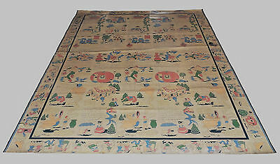 VTG 1930's to 1940's FLOOR COVERING Nursery Rhymes ILLUSTRATED 9' x 11' LINOLEUM