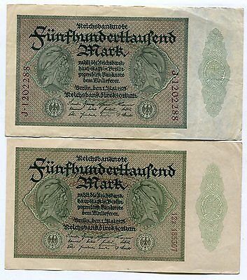 Germany 1923 500,000 Mark, Pick #88, Circulated, Lot of 2 Notes