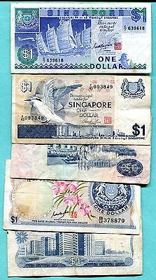 Singapore - Lot of 5 One Dollar Bills - Circulated