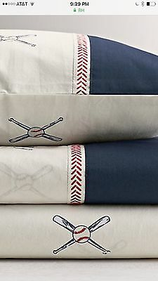 New Restoration Hardware Baby And Child Full Size Baseball Sheet Set