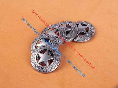 10PCS 2.8 CM ANTIQUE Sliver WESTERN ENGRAVED STAR CONCHOS RIVETBACK FOR CRAFT