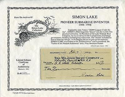 Simon Lake Submarine Inventor Signed Limited Edition Check Autograph