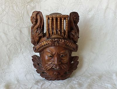 Antique Chinese Emporers Mask Hand Carved Rosewood w Dragons Glass Eyes