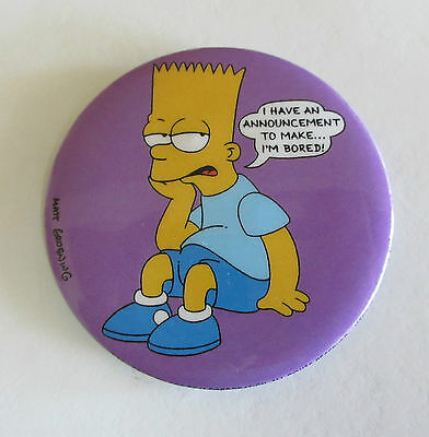 Bart Simpson 'I'm Bored' Badge - The Simpsons - 1991