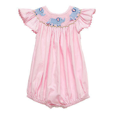 Pink Elephant Smocked Romper NEW * bubble girl boutique*