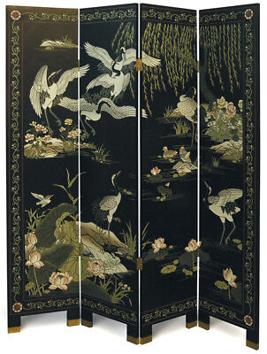 "4 Panel ""Cranes"" Chinese Black Lacquer Screen/Room Divider"