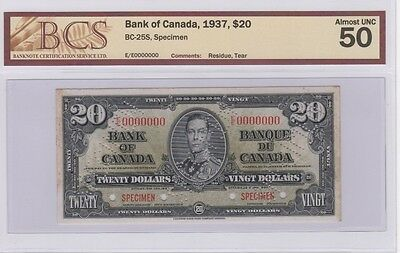 "1937 Bank of Canada $20 ""Specimen"" Note BC-25S Only 48 Known"