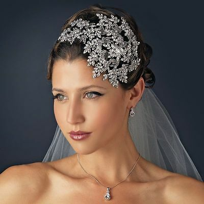 Silver Rhodium Vintage Style Couture Side Accent Crystal Leaves Bridal Headband
