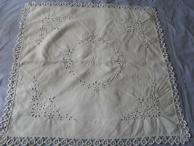 Gorgeous Antique Hand-Embroidered Tablecloth (Small)