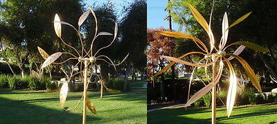SET OF TWO Copper Artistic Windmill Kinetic Large Wind Sculptures Dual Spinners