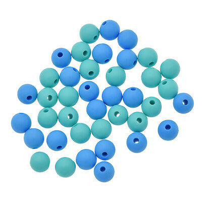 1pc/10pcs/20pcs Blue Baby Silicone Teething Beads DIY Chain Necklace Jewelry