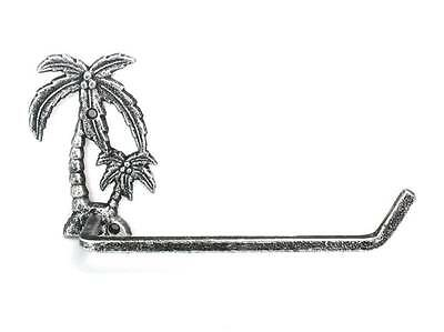 """Antique Silver Cast Iron Palm Tree Toilet Paper Holder 10"""""""