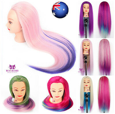 "Hairdressing Training Head Clamp 28"" Colorful Hair Mannequin Practice Doll AU"