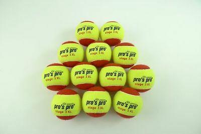 *NEU*Pro's Pro Stage 3 XL Tennisbälle Methodik 12 Bälle Junior Kids balls Kinder