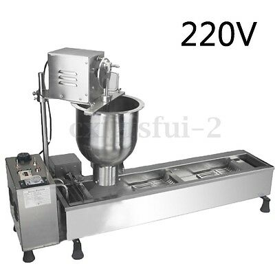 220V 3KW Auto Donut Maker Making Frying Machine Wide Oil Tank + 3 Sets Free Mold