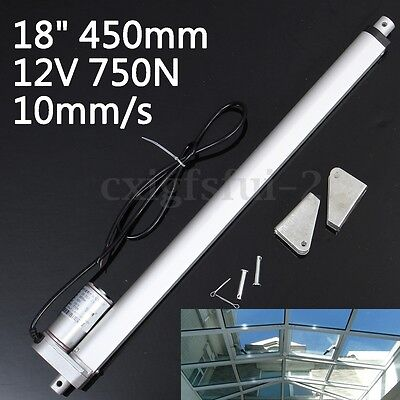 18'' 450mm DC 12V 750N Stroke Electric Linear Actuator Motor Putter + 2 Brackets