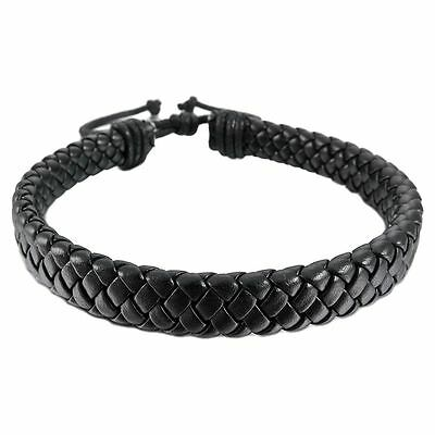 Mens Womens Leather Bracelet Bangle Cuff Rope Black Surfer Wrap Adjustable