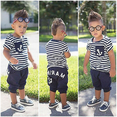US Kids Toddler Boys Sailor Outfits Striped Anchor Tops +Half Pant Summer Set ym