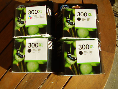 4 x HP 300xl ink cartridges (3 black and 1 colour)