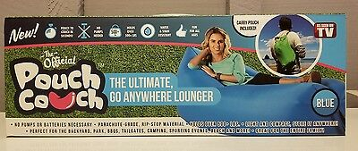 NEW! The Official Pouch Couch As Seen on TV Inflatable Anywhere ~BLUE~ FREE SHIP
