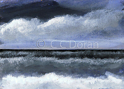 ACEO Ltd.Ed.Print Original Seascape Oceazn Beach Sea Clouds SA115 Art Painting