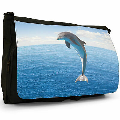 Dolphins Black Large Messenger School Bag