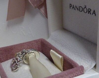 PANDORA GENUINE NEW SILVER CROWNED HEARTS with orchid pink enamel 791963CZ
