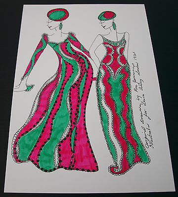 Roz Jennings Fashion Drawing Original Art Work Illustrator Laura Ashley 1970s E1