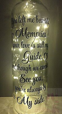 Beautiful Memories Poem Diy Wine Bottle Vinyl Decal Sticker Memorial Gift