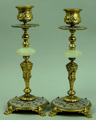 Antique Ornate French Gilt Metal & Enamel Pair Of Candlesticks C.1920