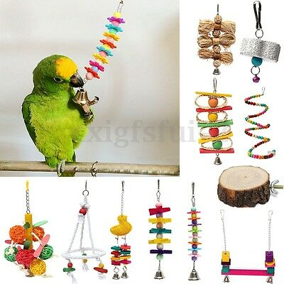 Parrot Pet Bird Chew Swing Cages Hang Toys Wood Large Rope Cave Ladder Bells Toy