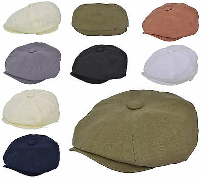 Adults 8 Panel Linen Summer Bakerboy Newsboy Style Flat Cap