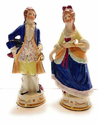 """Pair of Vintage Porcelain French Provincial Figurines 7.5"""" tall"""