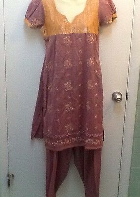 Vintage Indian Gold Lavender Tunic And Pants Embroidered Harem Pants Lovely!