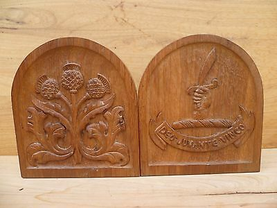 Vintage Old Large Timber, Irish Thistle Style Book Ends 'deo-Juvante-Vinco' A647